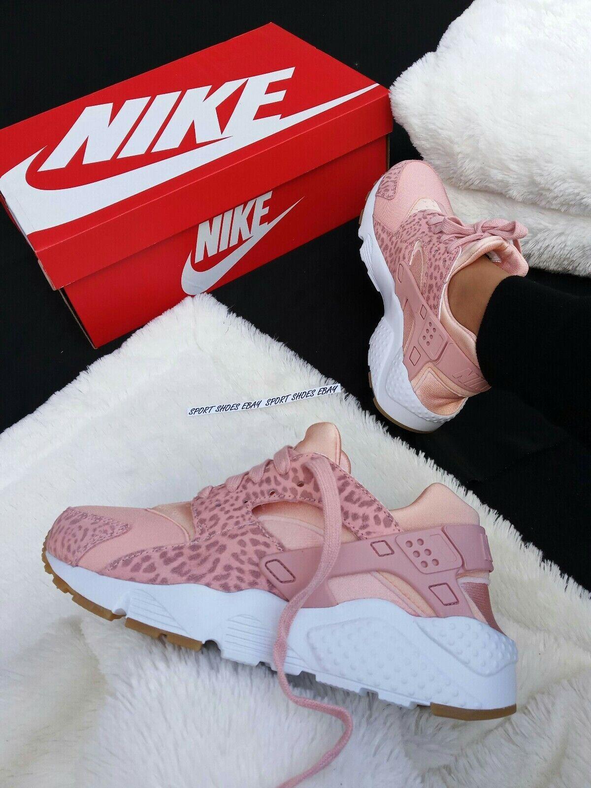 7Y   8 femmes Nike Huarache Run Rose Safari Classic Running Walk Casual