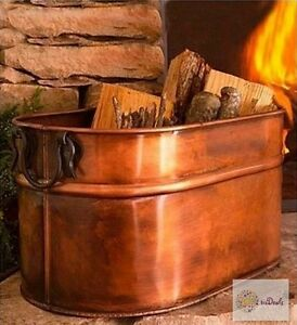 ANTIQUED COPPER FIREWOOD BUCKET / HOLDER / TUB FOR FIREPLACE &amp ...
