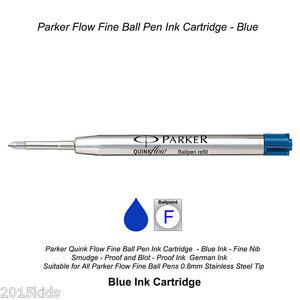 Blue Ink Fine Nib 0.8mm 5 X Parker Quink Flow Ball Point Pen Refill New