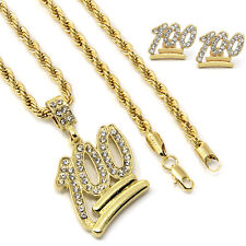 "Mens 14k Gold Plated Emoji 100 Cz Pendant Hip-Hop 30"" 4mm Rope Chain & Earrings"