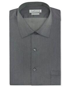 $95 VAN HEUSEN Men REGULAR-FIT GRAY LONG-SLEEVE BUTTON DRESS SHIRT 16.5 32/33 L