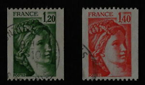Timbre poste. France. n°2103. 2104. Sabine. roulette