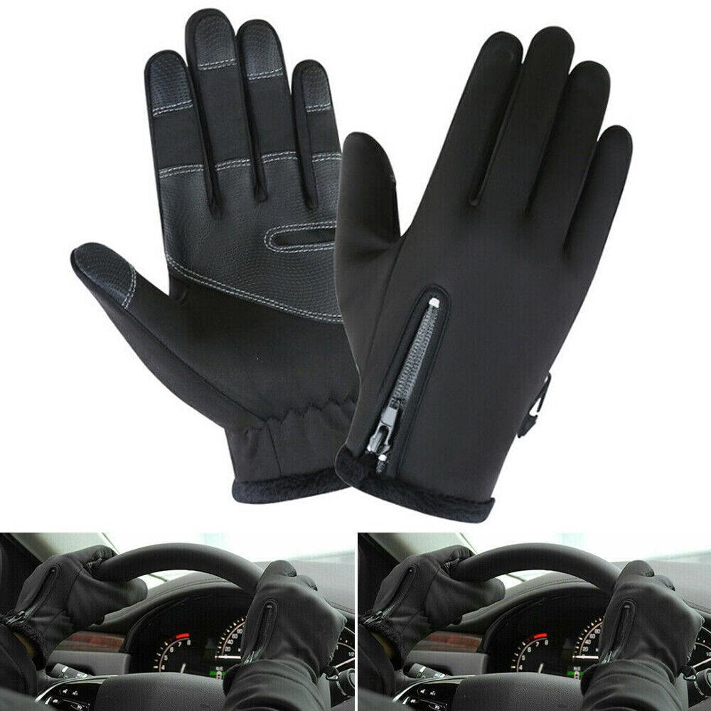 Black Men Winter Zip Gloves Warm Windproof Anti-slip Thermal Touch Screen Gloves