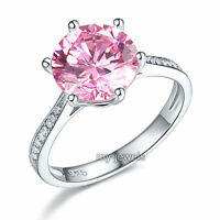 925 Sterling Silver Wedding Engagement Ring 3 Carat Pink Jewelry Ring Fr8210