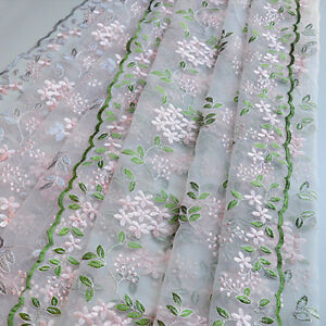 1 Yard Floral Leaf Tulle Mesh Embroidery Lace Fabric Diy Dress