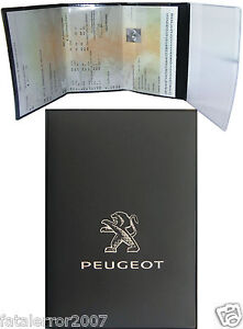 pochette etui porte carte grise peugeot 4 volets en gomme noire souple ebay. Black Bedroom Furniture Sets. Home Design Ideas