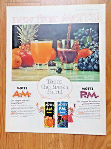 1960-MOTT-039-s-Juice-Ad-A-M-New-Breakfast-Drink-P-M-Thirst-Quencher-Perky-Purple
