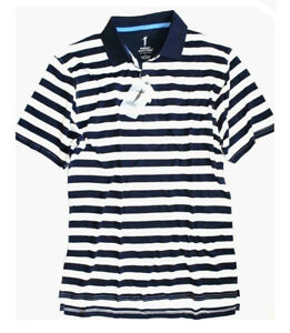 Fairway-Outfitters-Mens-M-NWT-Navy-Striped-Short-Sleeve-Golf-Polo-Shirt