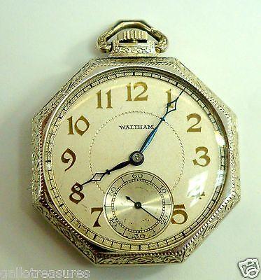 14k White Gold Vintage 17 Jewels Waltham Pocket Watch 58 5g Perfect Condition Ebay