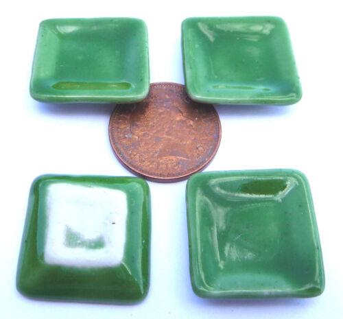 1:12 Scale 4 Green Square Ceramic Plates 2cm Tumdee Dolls House Accessory G1