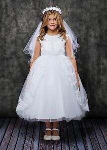 White Flower Girls First Communion Dress Embroidered Tulle Pearls Wedding Party