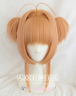 Card-captor Sakura Cosplay Perücke wig kurz short orange zopf Tail Cartoon neu