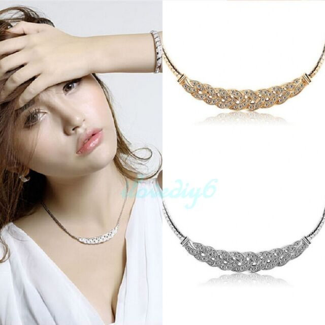 Women Crystal Pendant Chain Choker Chunky Statement Bib Charms Necklace Jewelry