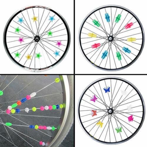 36Pcs Bicycle Bike Wheel Plastic Spoke Bead Children Kids Clip Colored Decors F6
