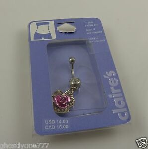 Rose-pink-crystal-belly-button-ring-piercing-body-jewelry-bling-Dangle-flower