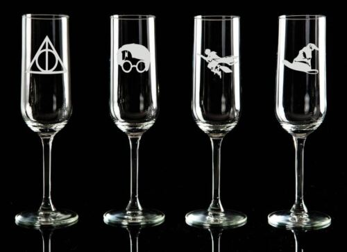 Harry Potter Set of 4 Champagne Flute Wine glass Prosecco glass.24