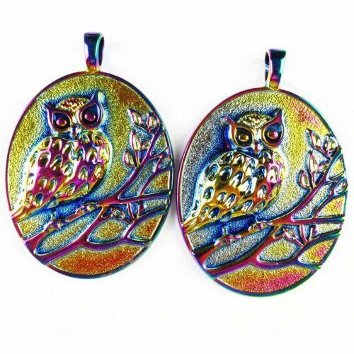 2Pcs 68x47x5mm Carved Rainbow Tibetan Silver Owl Pendant Bead 43g A-SH655