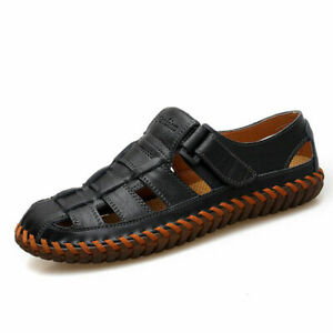 Mens-Hiking-Sandal-Fisherman-Beach-Shoes-Cow-Leather-Sandals-Slippers-Hollow-Out
