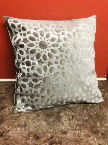 Gris Et Shiny Silver géométrique Velvet Pillow Throw Cushion Cover