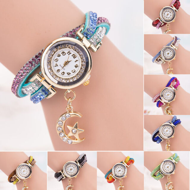 Women Casual Crystal Band Wave Bracelet Quartz Dial Analog Wrap Girl Wrist Watch