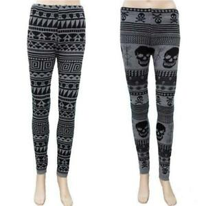 SKULLS-or-AZTEC-KNITTED-THERMAL-LEGGINGS-GOTHIC