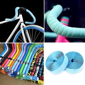 1-Pair-Bike-Tape-Bicycle-Bar-Cork-Handle-Handlebar-Wrap-Ribbon-with-2-Bar-Plugs