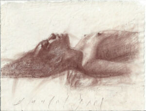 RELEASE Asian Female Nude Figure Conte Crayon Drawing Naked Woman Handmade Paper