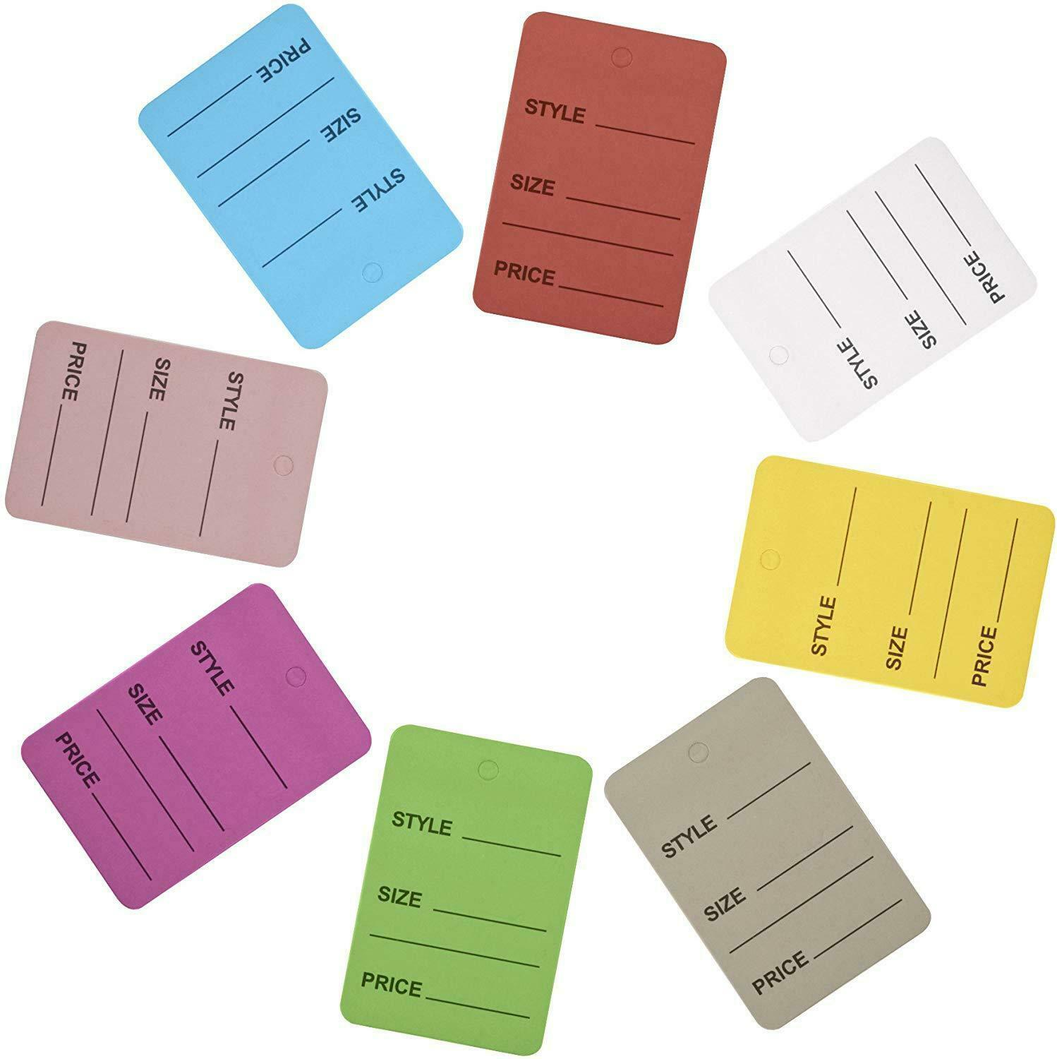 pack of 1000 Clothing jewelry Price Tags Mix 8 Colors Tags Pack Paper Perforated