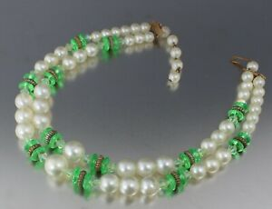 Vintage 2 Strand Beaded Necklace Pearls Black Blue Glass Green Plastic Beads Choker 1950s