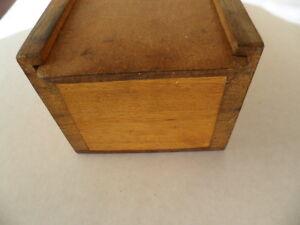 Antique vintage instrument wooden wood old lidded box with sliding lid