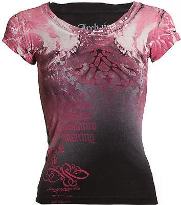 Archaic AFFLICTION Women T-Shirt NIGHTWATCHER Skulls Biker UFC Sinful S-XL $32 a