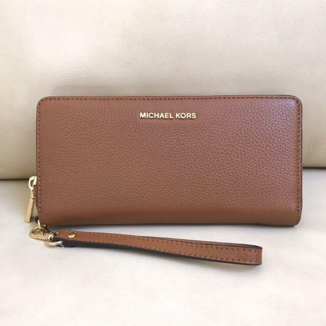 3cb600bbd158 Michael Kors Mercer Travel Luggage Pebble Leather Wristlet Wallet ...