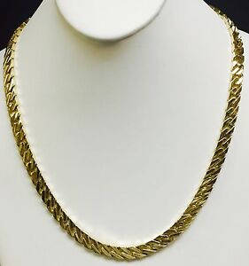 a4e12b3aa5f35 Details about 14k solid yellow gold handmade Curb Link mens necklace 28
