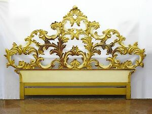 S John Widdicomb Venetian Gilt Carved Wood King Size Headboard