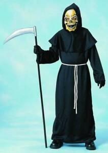 Horror Robe Grim Reaper Zombie Hooded Black Fancy Dress Halloween Child Costume