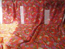 CHINA RED ITALIAN PURE SILK PAISLEY CRINKLE CHIFFON DRESS FABRIC