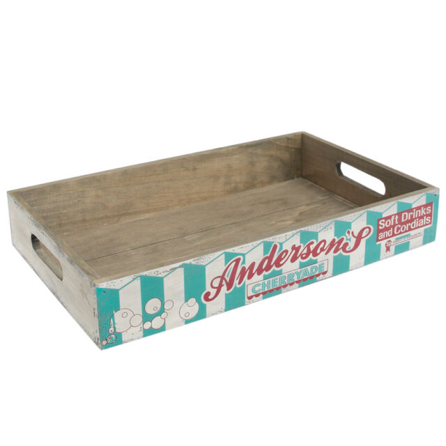 dotcomgiftshop CHERRYADE VINTAGE STYLE PAINTED WOODEN PRODUCE TRAY