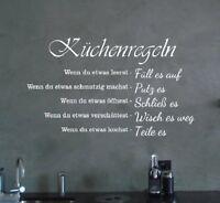 Wandtattoo Küchenregeln... Spruch für Wohnzimmer, Flur, Küche, Dekoration