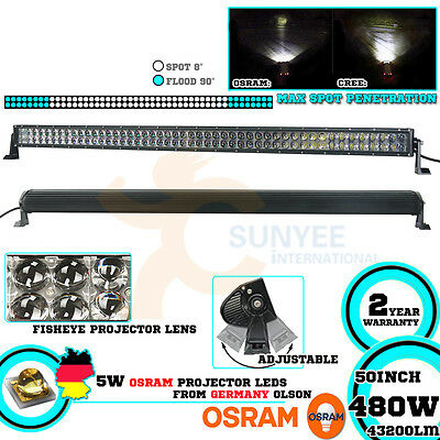 OSRAM 50Inch 480W LED Spot Flood Light Bar Offroad Driving Work 4WD Truck Jeep