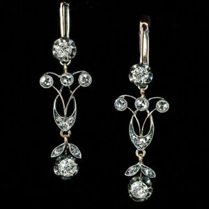14K-White-Gold-Over-2-10-CT-White-Round-Diamond-Leaf-Motif-Earrings-925-Silver