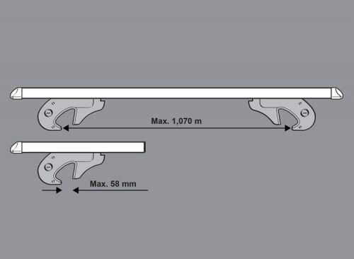 Aerodynamic Lockable Aluminium Car Roof Rack Rail Bars for VW Caddy Maxi Life
