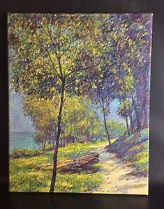 Pointilisme-haute-qualite-toile-peinture-acrylique-signee-1988-Le-bord-de-plage
