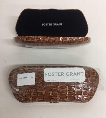 Lot of 2 Foster Grant Light Brown Alligator Glasses Hard Cases NEW