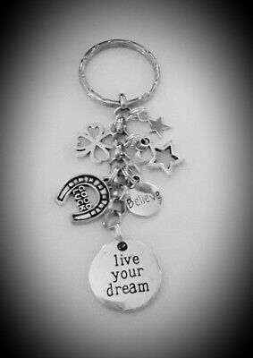 Charm KEYRING LIVE YOUR DREAM Good Luck for Someone Special Encouraging Token