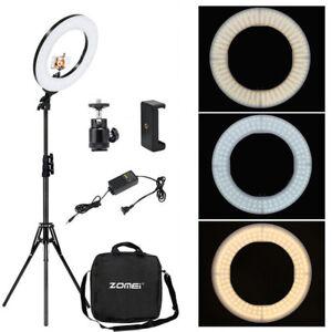 Anillo-de-LED-de-18-034-Kit-de-Luz-y-Soporte-Regulable-Para-Camara-retrato-vivo-videos-de-difusion