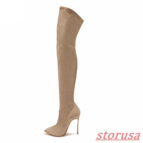 Stretchy Ritter High Boot Spitze Stiefel Metall Overknee Heels Stiletto Zehen Damen I8wCqYn