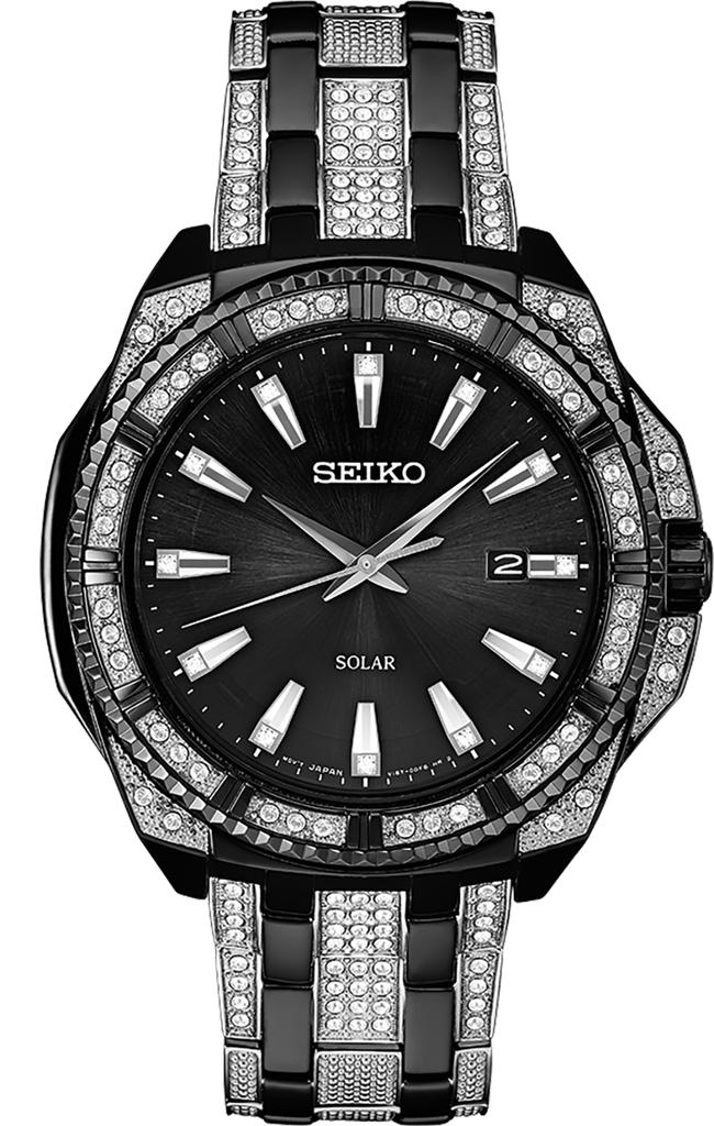 Seiko Essentials SNE459 Men's Solar-Powered Analog Watch in Black Ion Finish   Ebay