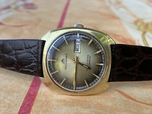 Vintage-Bucherer-watch-25j-Automatic-Day-Date-watch-Working-well