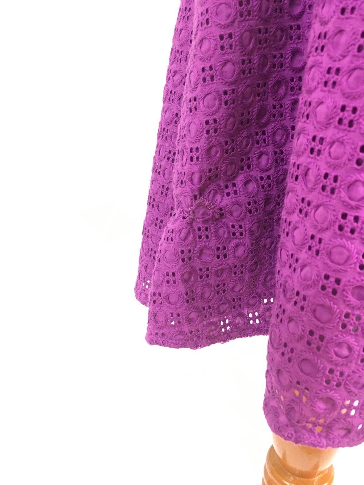 Cynthia rowley dress 14 purple purple purple sleeveless embroidered shift A line skirt knee f57bb1