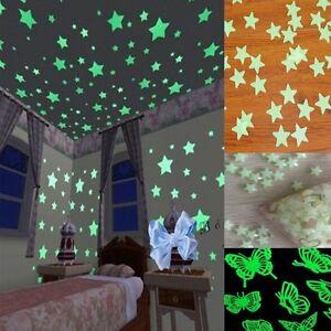 40-100pcs-Plastic-3D-Stars-Glow-In-The-Dark-Luminous-Fluorescent-Wall-Stickers
